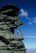 Mountain Biker and Rock Tor, Dunstan Mountains, Central Otago