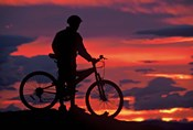 Mountain Biker and Sunset, Dunstan Mountains, Central Otago