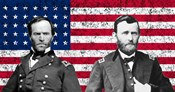 General Sherman and General Ulysses S Grant with American Flag