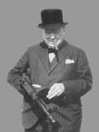 Sir Winston Churchill with a Tommy Gun