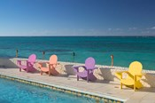 Colorful Pool Chairs at Compass Point Resort, Gambier, Bahamas, Caribbean