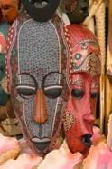 Masks and Conch Shells at Straw Market, Nassau, Bahamas, Caribbean
