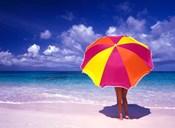 Female Holding a Colorful Beach Umbrella on Harbour Island, Bahamas