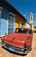 Old Classic Chevy on cobblestone street of Trinidad, Cuba