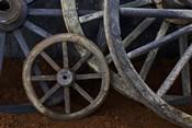 Rustic wagon wheels on movie set, Cuba