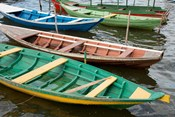 Colorful local wooden fishing boats, Alter Do Chao, Amazon, Brazil