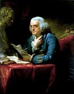 Benjamin Franklin seated at a desk