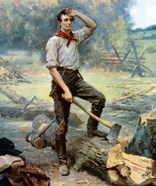 Digitally restored Vector Painting of a Young Abraham Lincoln Chopping Wood