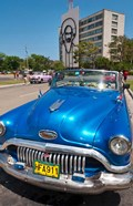 Havana, Cuba, Classic cars in Revolution Square