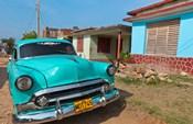 Trinidad, Cuba, blue classic 1950s Chevrolet car