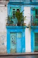 Cuba, Havana, Havana Vieja, Blue building