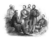 Digitally Restored Civil War artwork of Abraham Lincoln and His Commanders