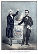 President Washington and President Lincoln Shaking Hands