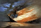 Vintage Civil War painting Warship Burning