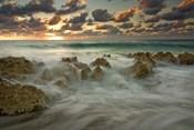 Cayman Islands, Waves near George Town, sunset, beach