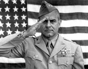 General James Jimmy Doolittle Saluting with The American Flag