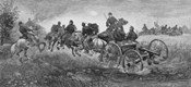 Vintage Civil War print of a team of horses pulling a cannon into battle