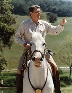 Ronald Reagan on Horseback (color photo)
