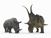 An Adult Diabloceratops Compared to a Modern adult White Rhinoceros