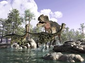 A Tyrannosaurus Rex Hunting two Gallimimus Dinosaurs in a River