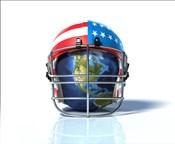Planet Earth Protected by an American Football Helmet