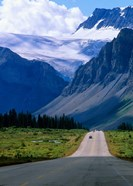 Road into the Mountains of Banff National Park, Alberta, Canada