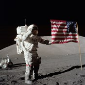 Apollo 17 Astronaut Salutes the United States Flag on the Lunar Surface