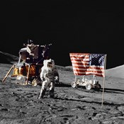 Apollo 17 Astronaut Stands Near the United States Flag on the Lunar Surface