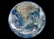 A Blue Marble image of Earth showing North America