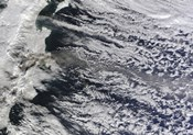 Satellite view of an Ash Plume Rising from Russia's Shiveluch volcano