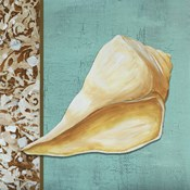 Yellow Seashell - Tan Side Border Teal Crackle Back