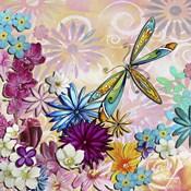 Aqua Brown Background Floral II