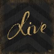 Chevron Sentiments Gold Heart Trio I