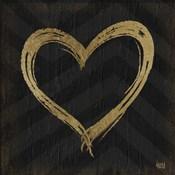 Chevron Sentiments Gold Heart Trio II