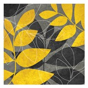 Grey Gold Leaves 1