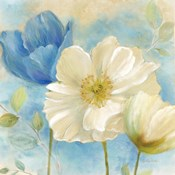 Watercolor Poppies II (Blue/White)