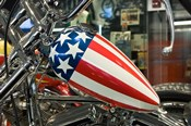 Patriotic Motorcycle with Stars and Stripes