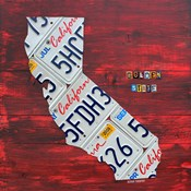 California License Plate Map - Red
