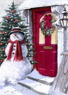 Snowman Outside Red Door