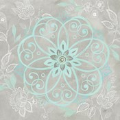 Jacobean Damask Blue/Gray I