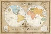 Old World Journey Map Cream