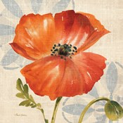 Watercolor Poppies I (Orange)