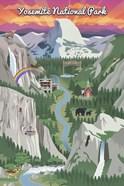 Yosemite Mountains And Rainbow