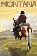 Montana Cowboy On Hourse