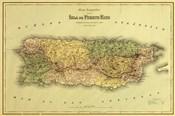Island of Puerto Rico Map