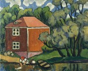 Landscape With Red House And Woman Washing, 1908