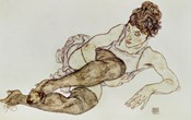Reclining Woman With Black Stockings, 1917