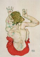 Female Nude Seated On Red Drapery, 1914