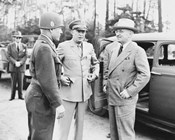 Harry Truman with General Eisenhower and Hickey