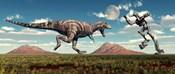 Tyrannosaurus Rex Battling Robot